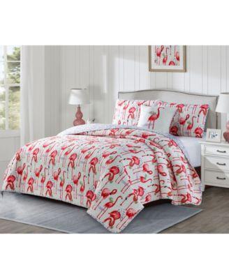 Fancy Flamingo 3 Piece Quilt Set, King