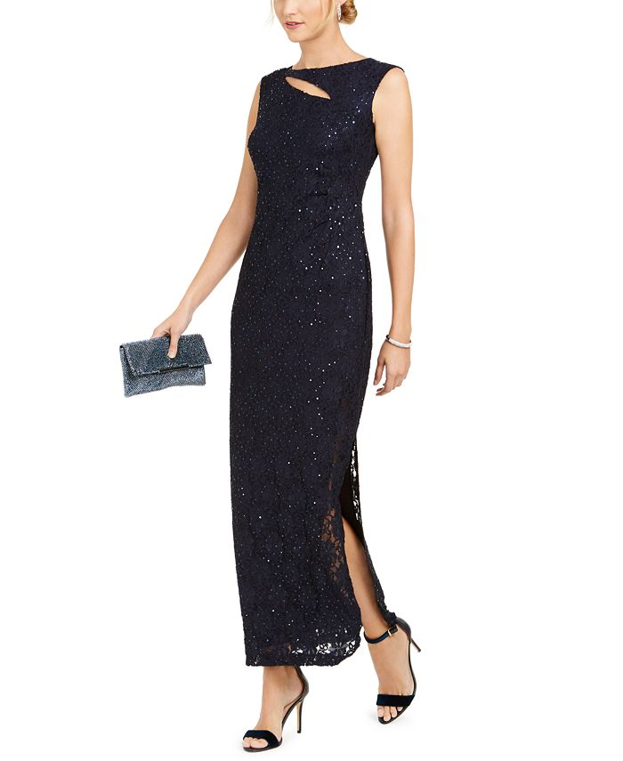 Connected Cutout Sequined Lace Gown Reviews Dresses Women Macy S