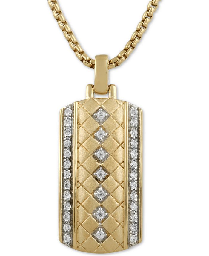 """Macy's - Men's Diamond Dog Tag 22"""" Pendant Necklace (1/3 ct. t.w.) in 18k Gold-Plated Sterling Silver"""