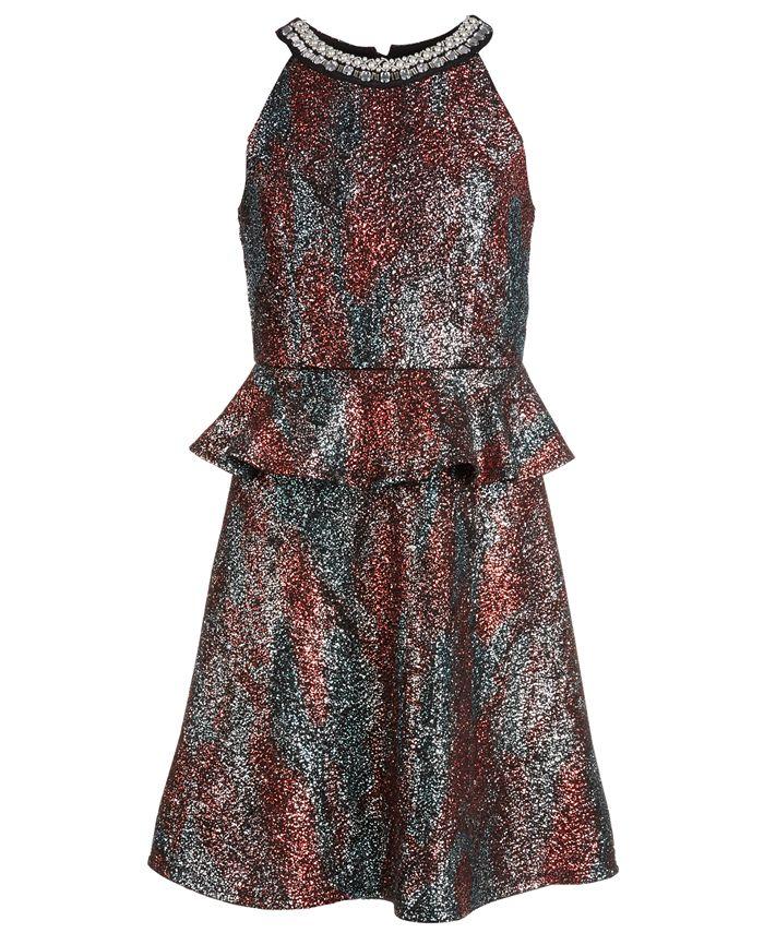 Monteau - Big Girls Sparkle Printed Peplum Dress