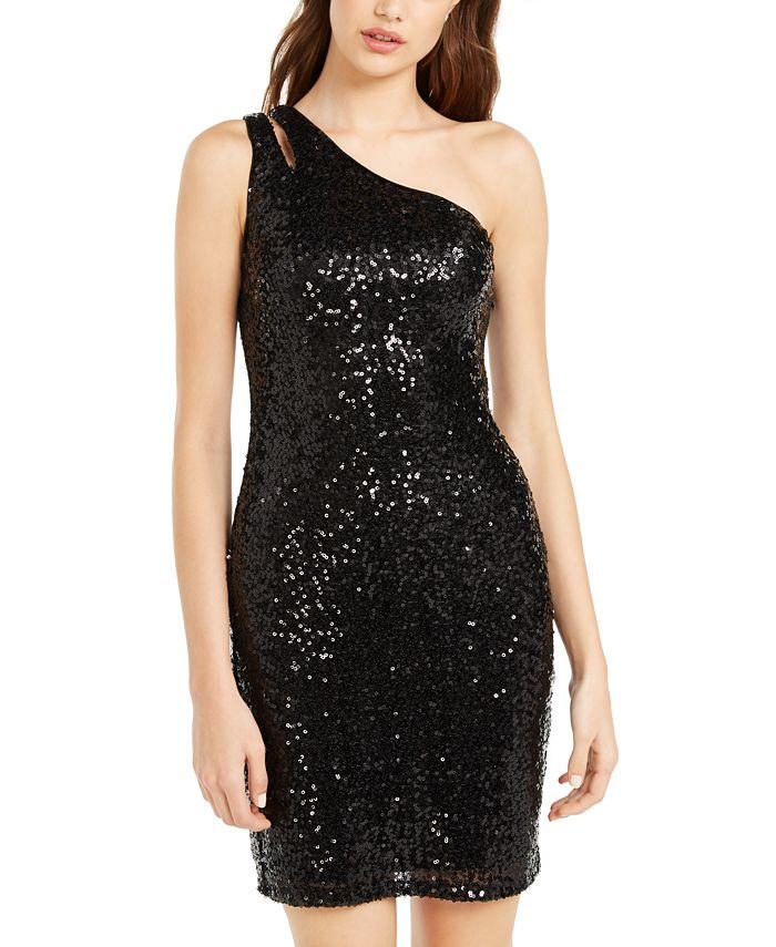 Teeze Me - Juniors' One-Shoulder Sequin Dress