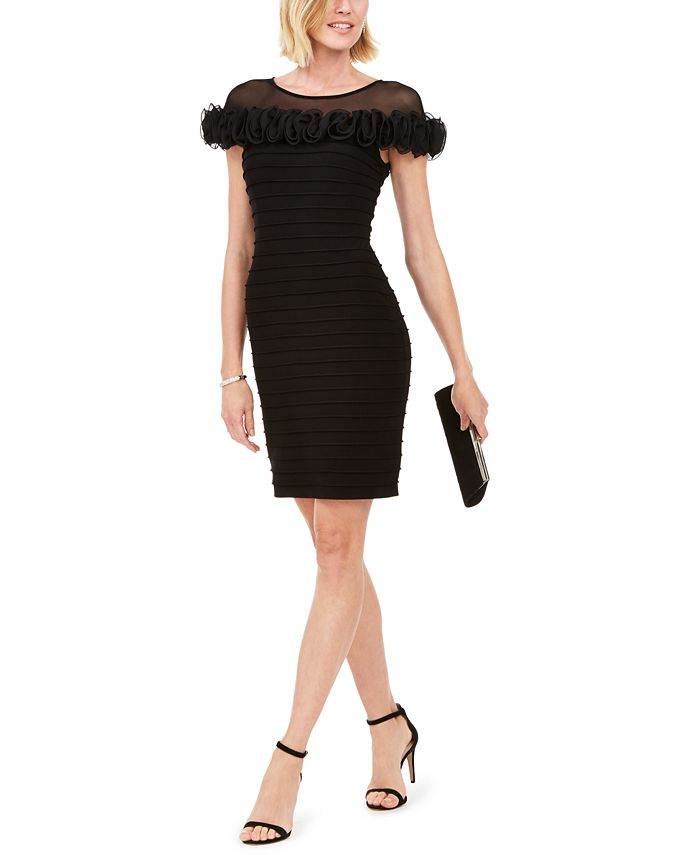 Adrianna Papell - Illusion-Neck Sheath Dress