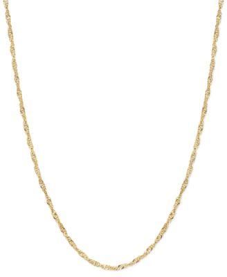 """30"""" Singapore Chain Necklace (1-1/2mm) in 14k Gold"""