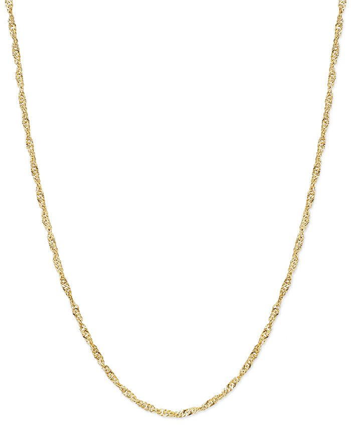 "Macy's - 14k Gold Necklace, 30"" Hollow Singapore Chain"