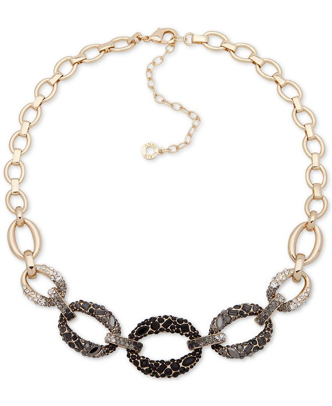 """Anne Klein Gold-Tone Ombré Crystal Link Necklace, 16"""" + 3"""" extender"""