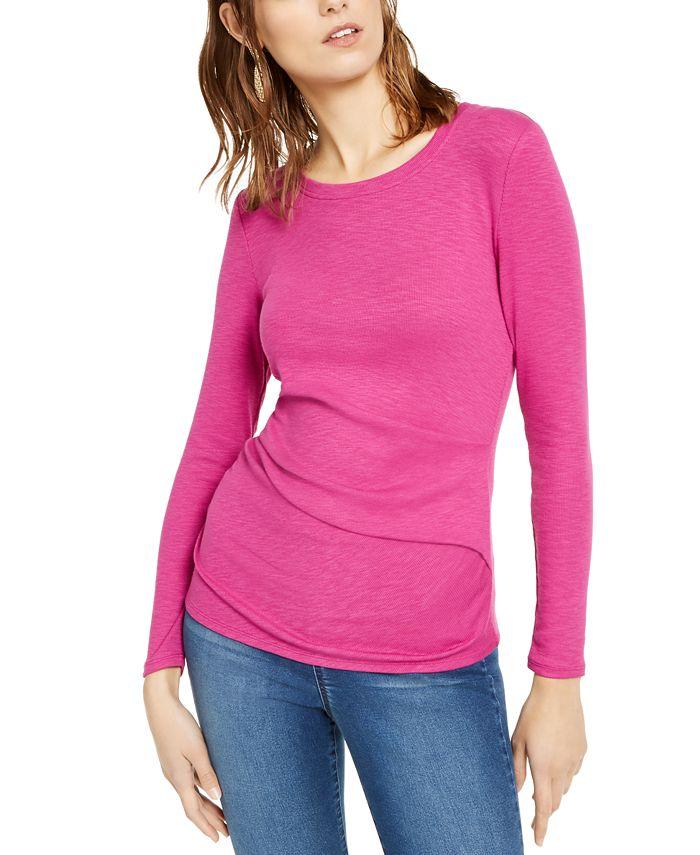 INC International Concepts - Long-Sleeve Draped T-Shirt