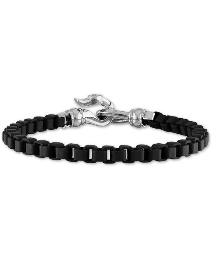 Esquire Men's Jewelry Box Link Chain Bracelet in Black Enamel & Stainless Steel (Also in Red & Blue Enamel), Created for Macy's & Reviews - Bracelets - Jewelry & Watches - Macy's