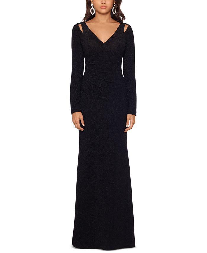 XSCAPE - Glitter Cutout-Shoulder Gown