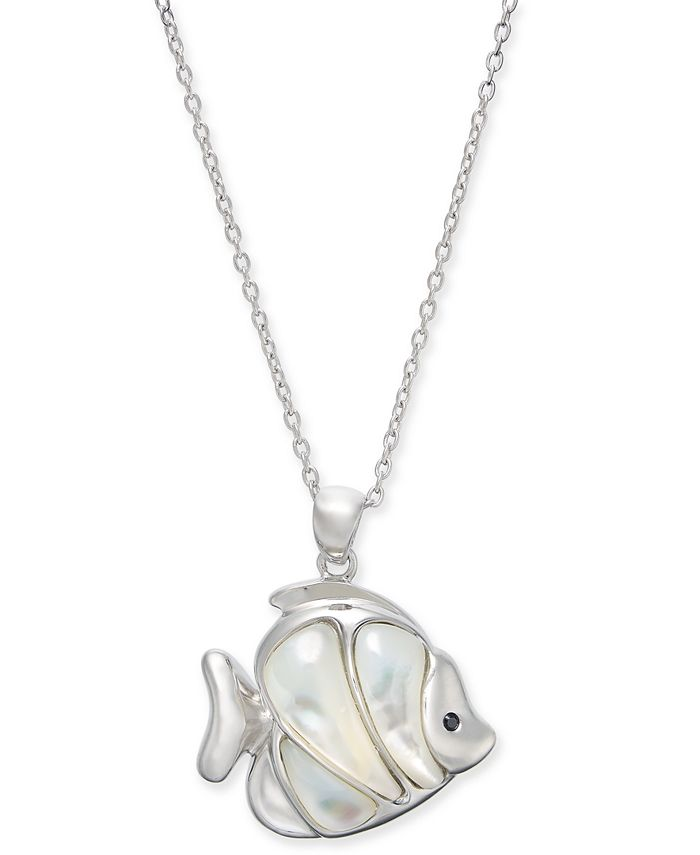 """Macy's - Mother-of-Pearl Fish 18"""" Pendant Necklace Sterling Silver"""