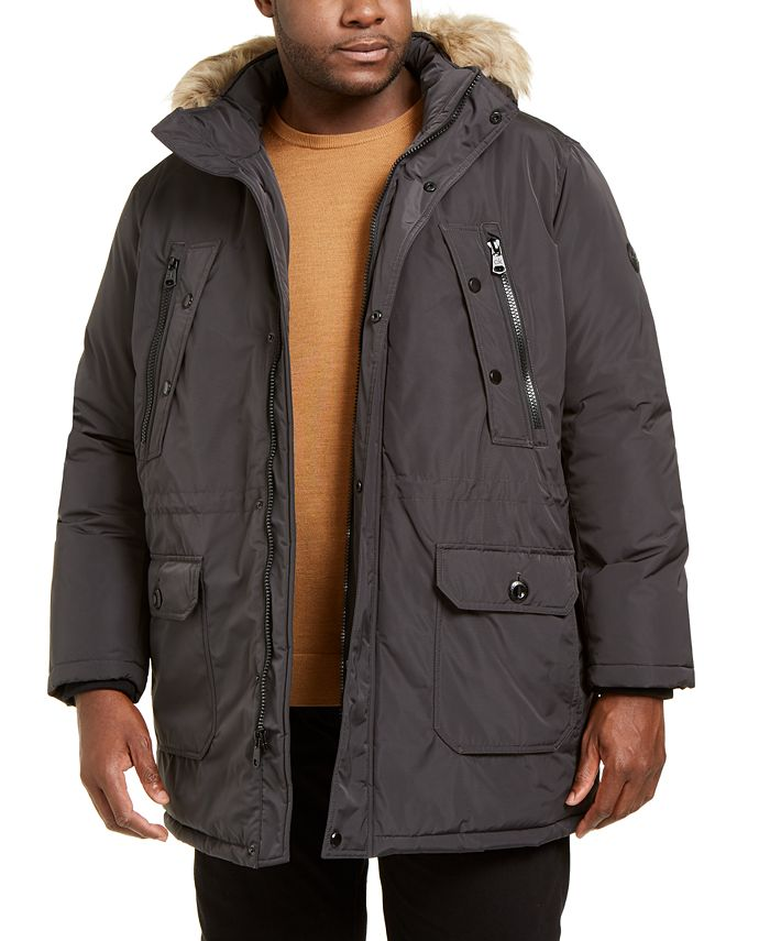 Calvin Klein - Men's Big & Tall Long Snorkel Coat with Faux-Fur Trimmed Hood