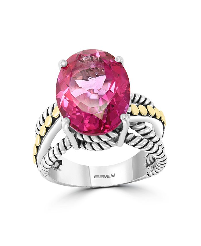 EFFY Collection - Pink Topaz (6-7/8 ct. t.w) Ring in 18k Yellow Gold and Sterling Silver