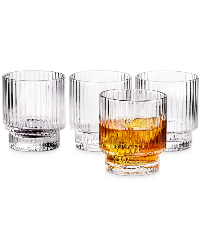 Hotel Collection - Fluted Double Old-Fashioned Glasses, Set of 4