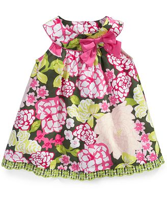 Blueberi Boulevard Baby Dress, Baby Girls Floral Trapeze Sundress