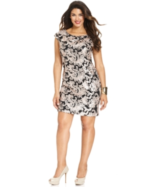 Betsy & Adam Plus Size Dress, Cap-Sleeve Sequined Cocktail Dress
