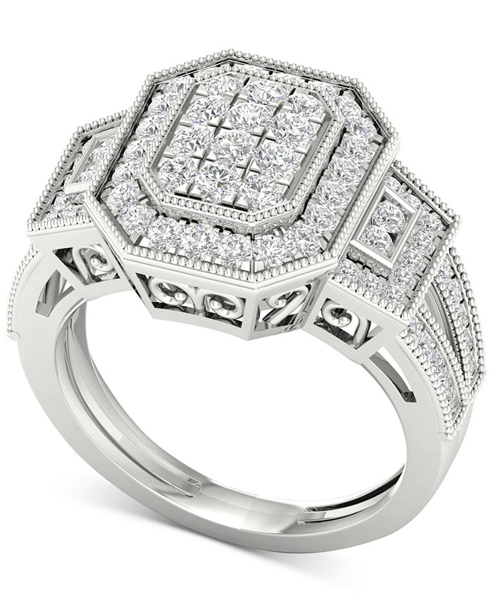 Macy's - Diamond Octagon Halo Cluster Filigree Statement Ring (1 ct. t.w.) in 10k White Gold