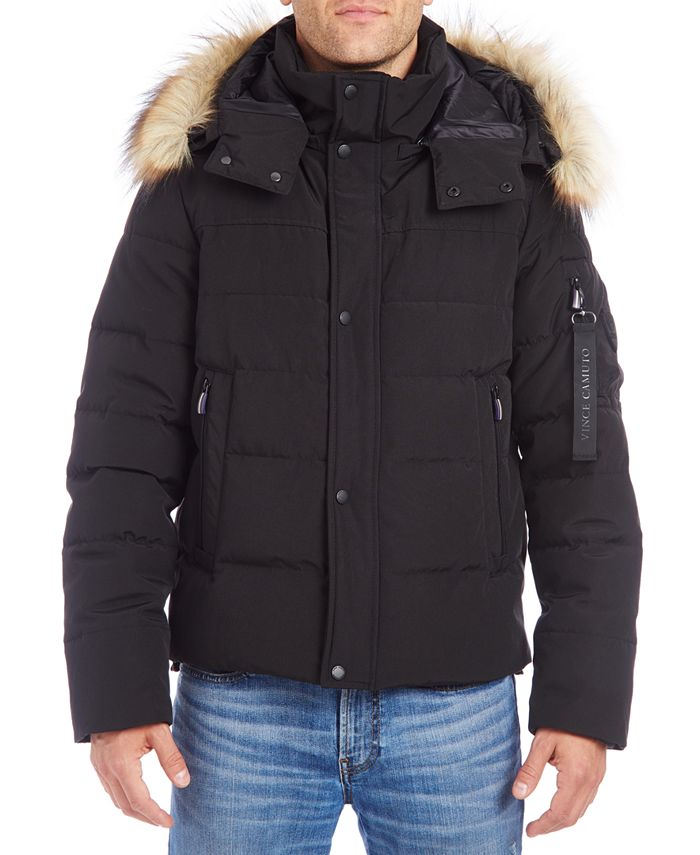 Vince Camuto - Men's Bomber with Removable Faux Fur Trimmed Hood