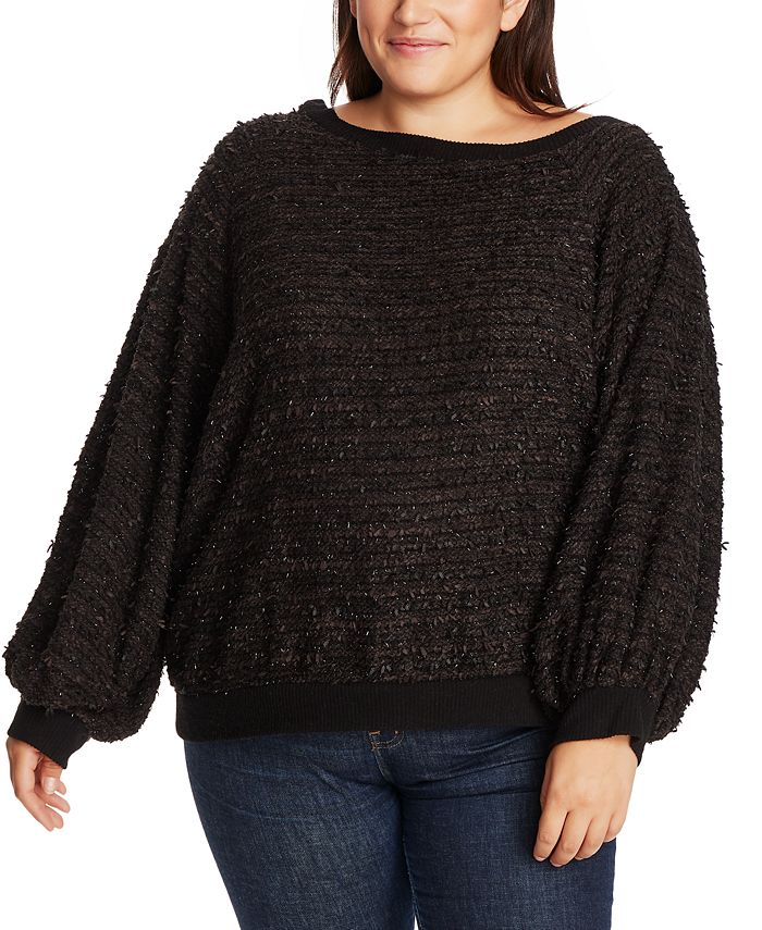 1.STATE - Trendy Plus Size Off-The-Shoulder Eyelash Sweater