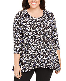 Anne Klein Plus Size Printed 3/4-Sleeve Tunic