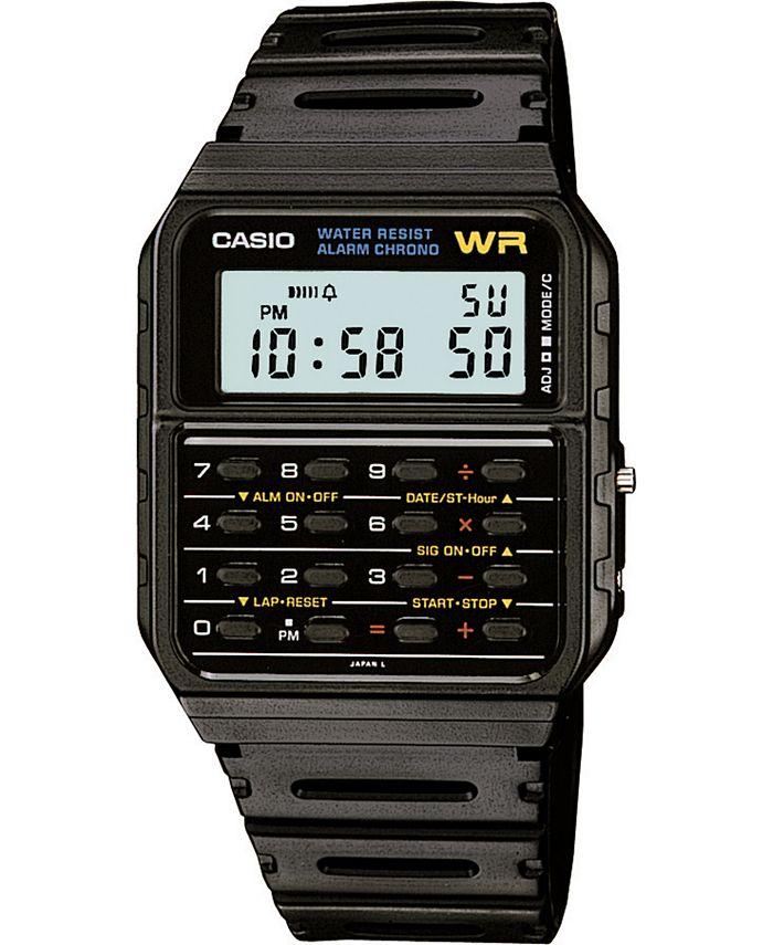 Casio - Unisex Digital Calculator Black Resin Strap Watch 35mm