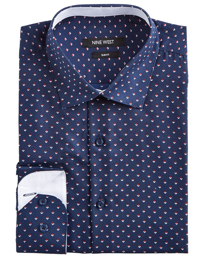 Nine West - Men's Slim-Fit Wrinkle-Free Performance Stretch Navy Ground with Red & White Print Dress Shirt