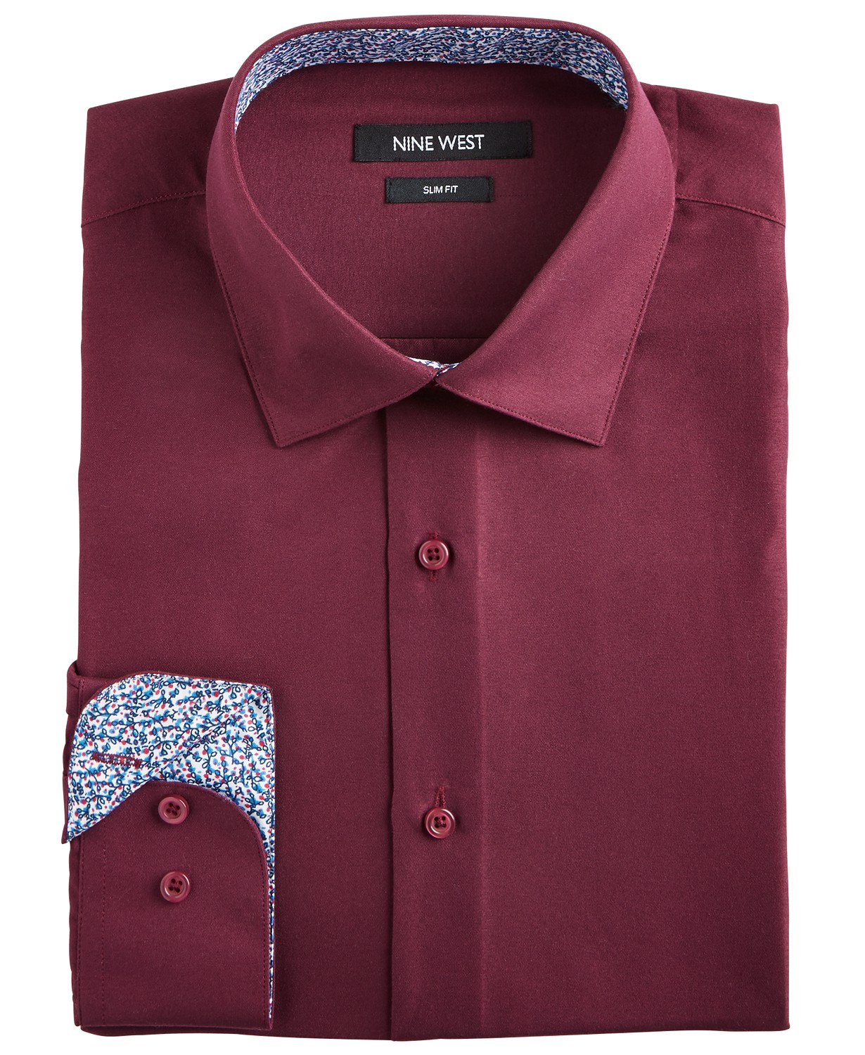 (64% OFF Deal) Men's Slim-Fit Wrinkle-Free Performance Stretch Burgundy Dress Shirt $17.99