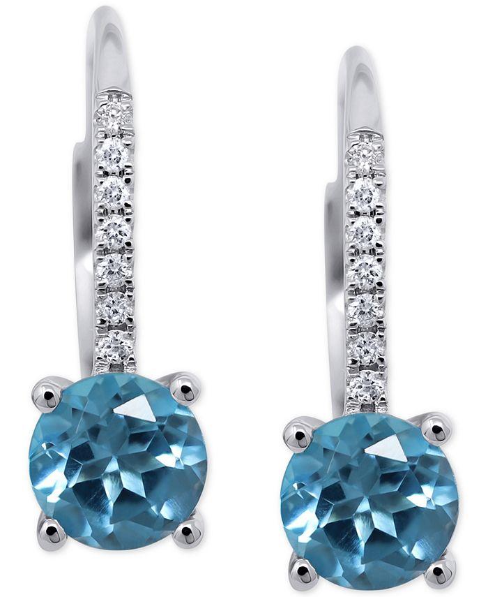 Macy's - Blue Topaz (1-3/4 ct. t.w.) & Diamond (1/10 ct. t.w.) Drop Earrings in 14k White Gold (Also available in Rhodolite Garnet)