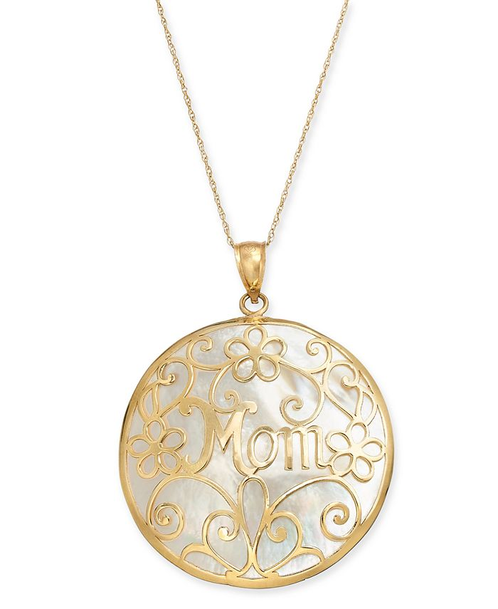 """Macy's - Mother-of-Pearl Mom Flowery 18"""" Pendant Necklace in 14k Gold"""
