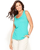 INC International Concepts Plus Size Top Sleeveless Voile-Trim Tank