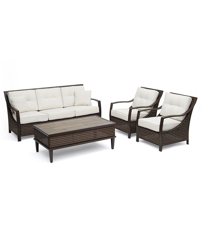 """Furniture - North Shore Outdoor Aluminum 4-Pc. Seating Set (Sofa, 2 Club Lounge Chairs & 53"""" x 28"""" Rectangle Coffee Table) with Sunbrella® Cushions"""
