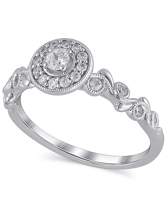 Macy's - Certified Diamond (1/3 ct. t.w.) Engagement Ring in 14K White Gold