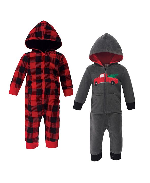 Hudson Baby Baby Boy Fleece Coveralls and Jumpsuits, 2 Pack