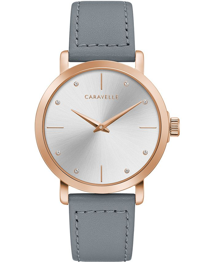Caravelle - Women's Gray Leather Strap Watch 36mm