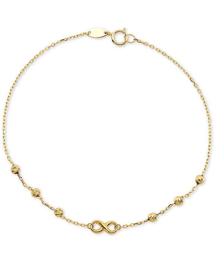 Macy's - Diamond Infinity & Textured Bead Link Bracelet in 10k Gold
