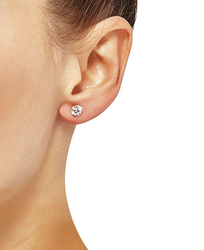 Macy's 2-Pc. Set Cubic Zirconia Stud & Ruffle Oval Hoop Earrings in 10k Gold & Reviews - Jewelry & Watches - Macy's