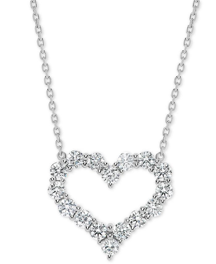 "Macy's - Diamond Open Heart 18"" Pendant Necklace (1-1/2 ct. t.w.) in 14k White Gold"