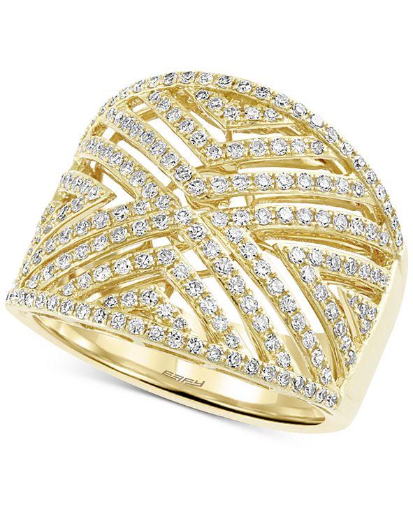 EFFY Collection EFFY® Diamond Geometric Openwork Statement Ring (3/4 ct. t.w.) in 14k Gold