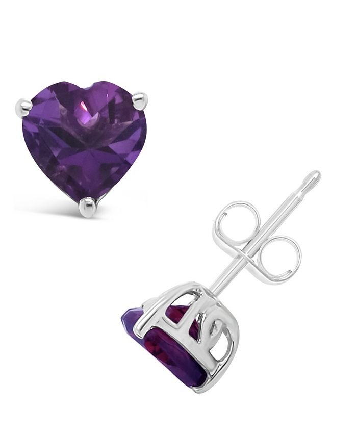 Macy's - Gemstone Stud Earrings in Sterling Silver. Available in Blue Topaz (2 ct. t.w.) and Amethyst (1-1/3 ct. t.w.)