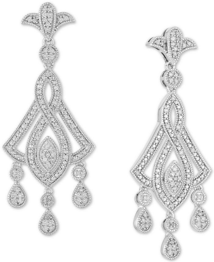 Macy's - Diamond Openwork Chandelier Drop Earrings (1/2 ct. t.w.) in Sterling Silver