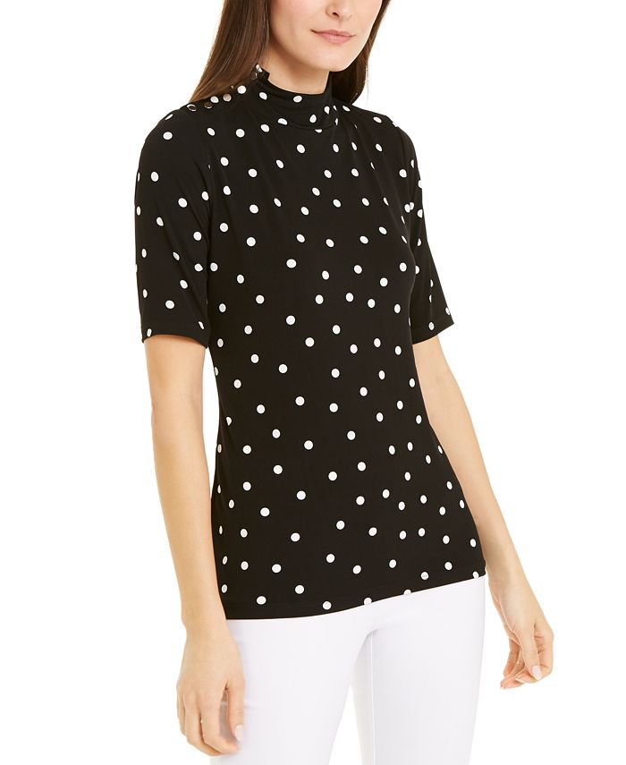 Alfani - Dot-Print Snap-Button Top, Created For Macy's