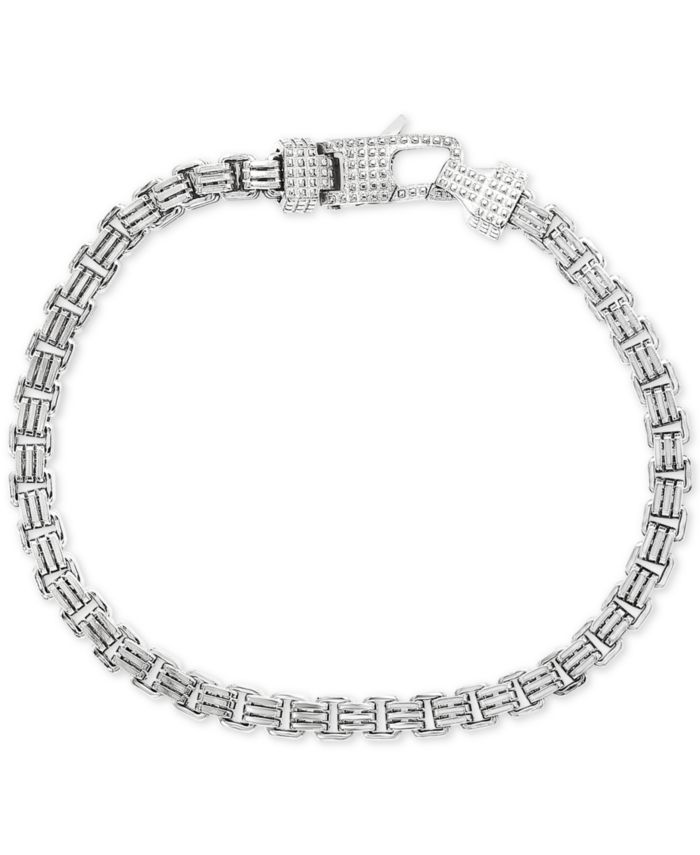 EFFY Collection EFFY® Men's Box Link Chain Bracelet in Sterling Silver & Reviews - Bracelets - Jewelry & Watches - Macy's