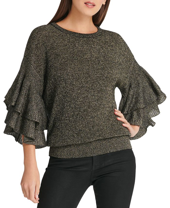 DKNY - Metallic Ruffle-Sleeve Sweater