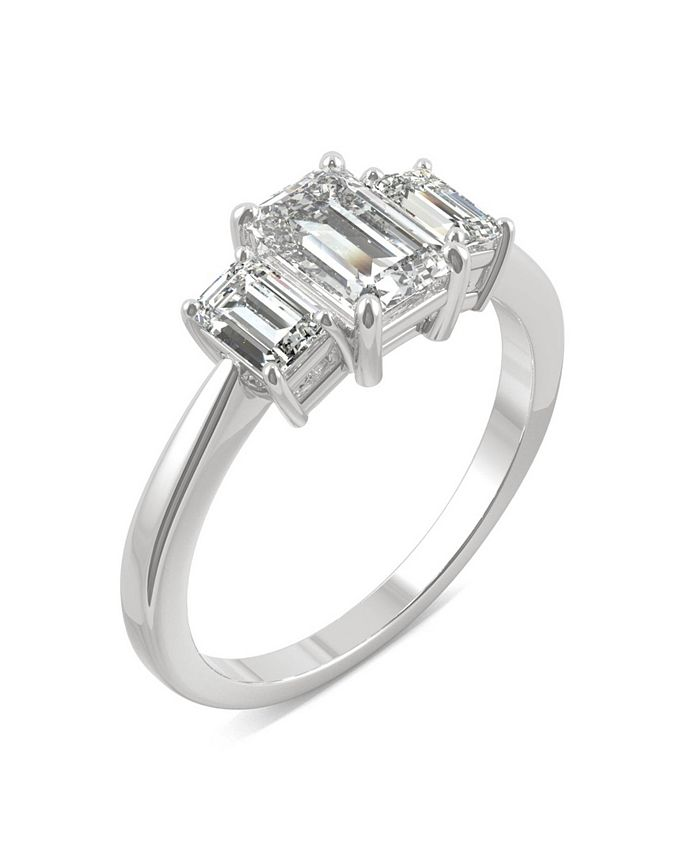 Charles & Colvard - Moissanite Emerald Cut Three Stone Ring 1-1/2 ct. t.w. Diamond Equivalent in 14k White or Yellow Gold