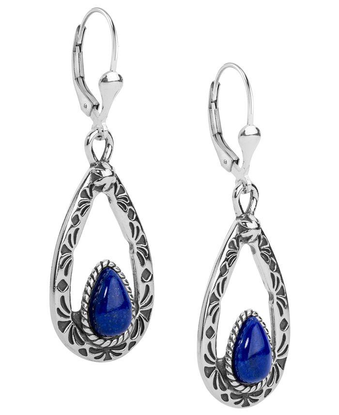 American West - Blue Lapis Teardrop Dangle Earrings