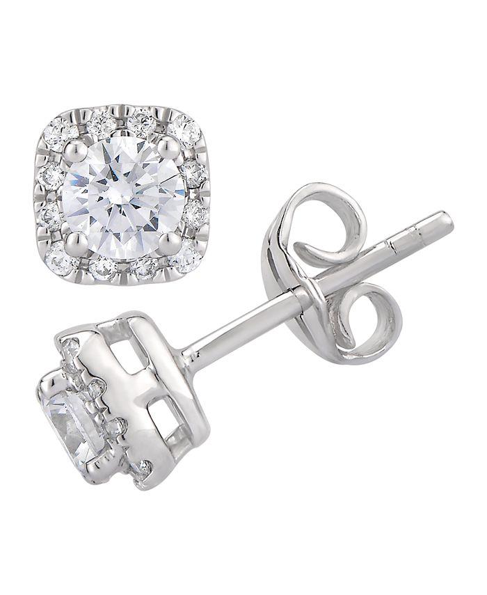 Macy's - Certified Diamond 3/4 ct. t.w. Cushion Halo Stud Earrings in 14k White Gold