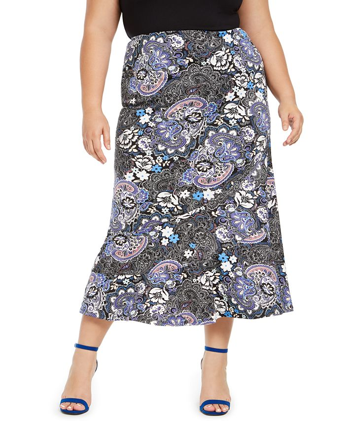 NY Collection - Plus Size Printed Diagonal-Seamed Skirt