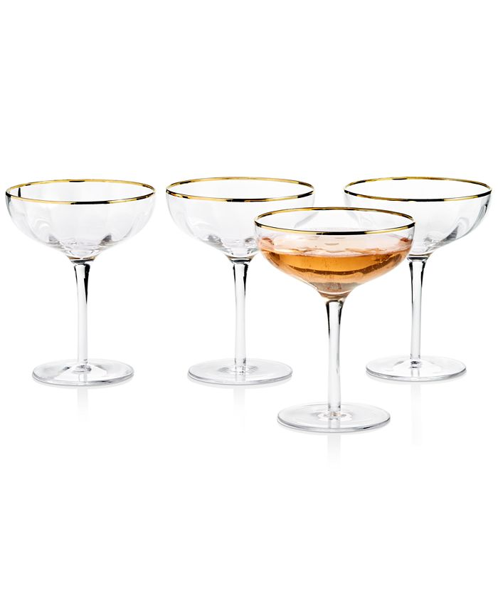 Martha Stewart Collection - Clear Optic Coupe Glasses with Gold Rims, Set of 4