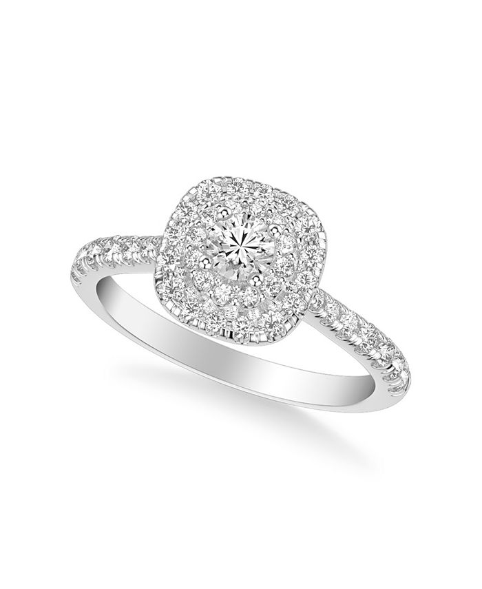 Macy's - Diamond Halo Engagement Ring (3/4 ct. t.w.) in 14k White, Yellow or Rose Gold
