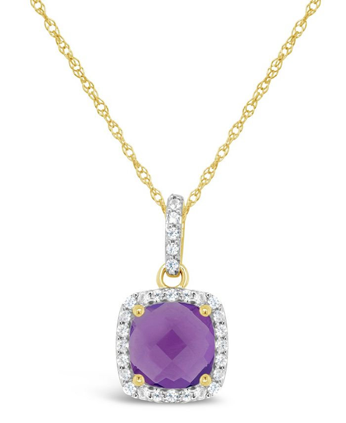Macy's - Amethyst (1-1/3 ct. t.w.) and Created White Sapphire (1/6 ct. t.w.) Pendant Necklace in 10k Yellow Gold