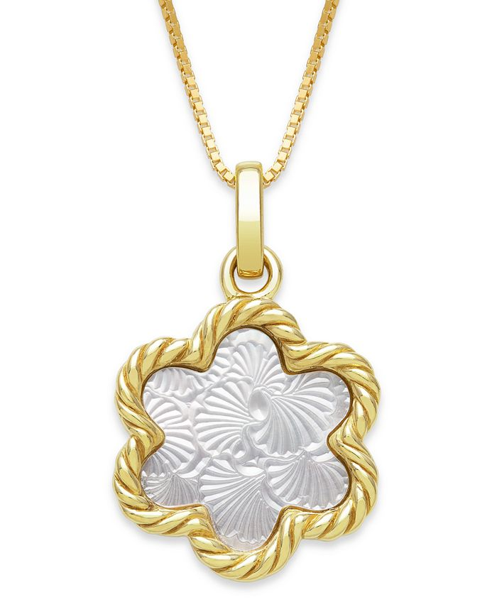 "Macy's - Engraved Mother of Pearl 13mm Flower Shaped Pendant with 18"" Chain in Gold over Silver"