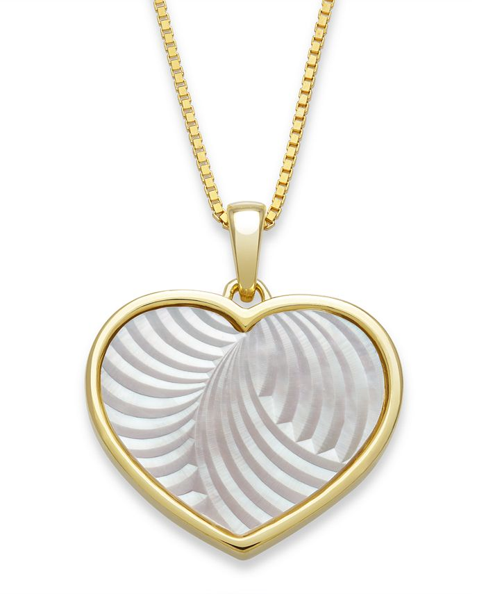 """Macy's - Mother of Pearl 13mm Heart Shaped Pendant with 18"""" Chain in Gold Over Silver"""